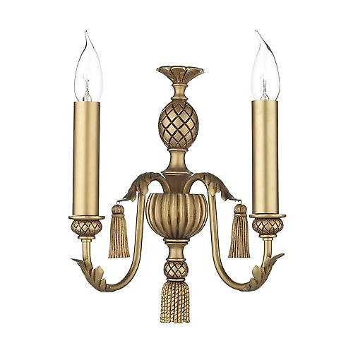 David Hunt CL12 Classic Double Wall Light In An Antique Gold Finish