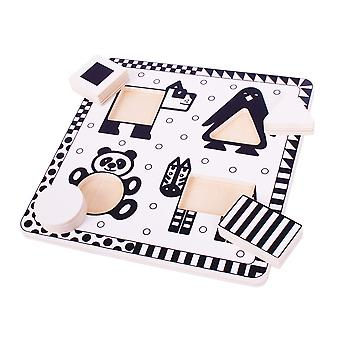 Bigjigs Toys Wooden Chunky Animals Black and White Jigsaw Puzzle