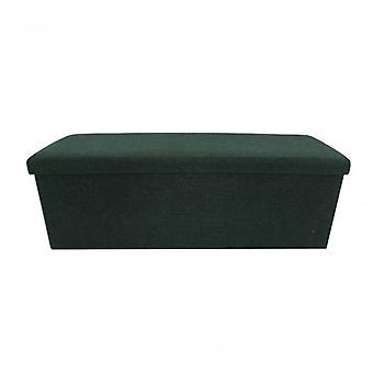 Furniture Rebecca Puff Container Pouf Dark Green Fabric 38x110x38