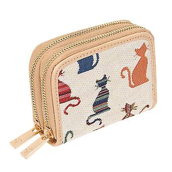 Cheeky cat women's double-zip rfid money purse by signare tapestry / dzip-cheky