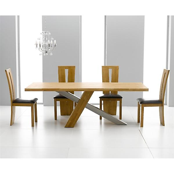 Montana 1.8 Oak Dining Set With 6 Brown Arizona Chairs
