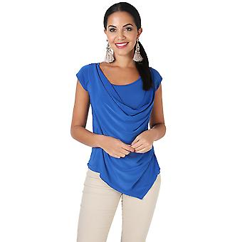 KRISP  KRISP Pleated Cowl Neck Low Cut Tie Back Vest Silk Jersey Top Party Evening 3540
