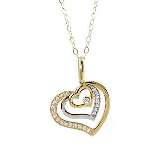 Eternity 9ct 2 Colour Gold Cubic Zirconia Set Heart Pendant And 16'' Trace Chain