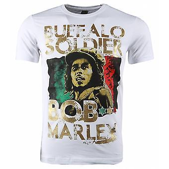 T-shirt-Bob Marley Buffalo Soldier Print-White