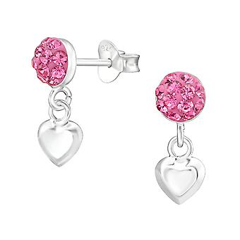 Round With Hanging Heart - 925 Sterling Silver Crystal Ear Studs - W38391X