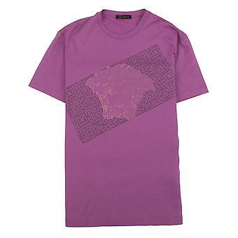 Versace Rhinestone Logo T-Shirt Pink