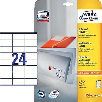 Avery-Zweckform 3490 Labels (A4) 70 x 36 mm Paper White 600 pc(s) Permanent All-purpose labels Inkjet, Laser, Copier