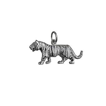 Silver 12x27mm Tiger Pendant or Charm