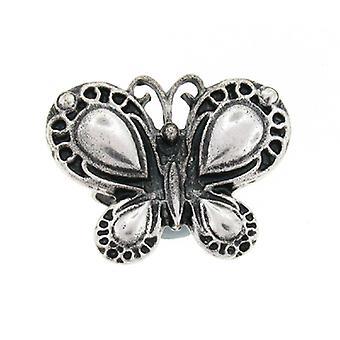 Bague ajustable papillon détaillée argent antique