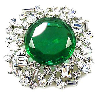Kenneth Jay Lane Large Emerald & Crystal Flower Brooch Pin