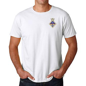 HMS Wildfire Embroidered Logo - Official Royal Navy Ringspun T Shirt
