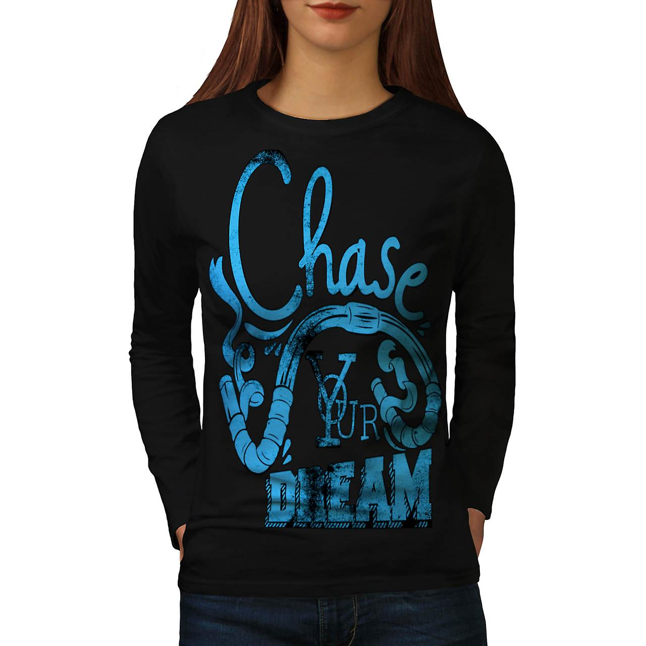 Chase Your Dream Gym Handle Bar Women Black Long Sleeve T-shirt | Wellcoda