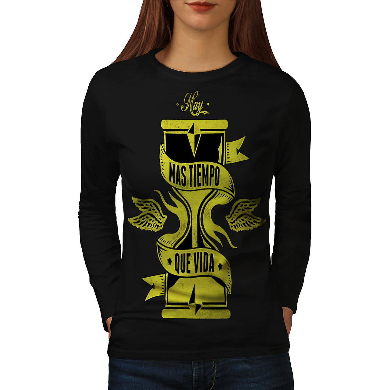 Longer Than Life Crew Spain Gang Women Black Long Sleeve T-shirt | Wellcoda