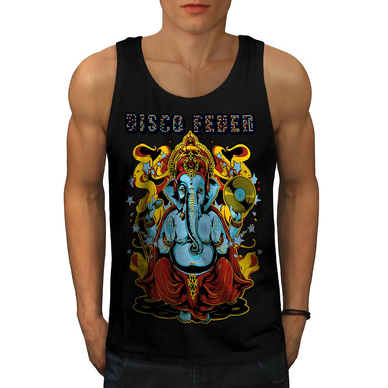 Disco Fever Elephant Ganesha God Men Black Tank Top | Wellcoda