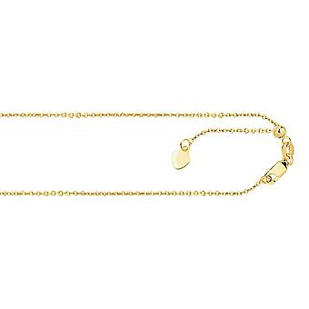 14k Yellow Gold 0.9mm Sparkle-Cut Classic Adjustable Cable Chain Necklace - Length: 22 to 30