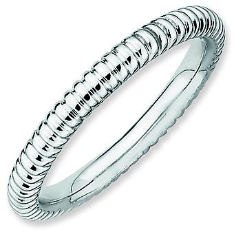 Sterling Silver Stackable Expressions Rhodium Rice Ring - Ring Size: 5 to 10