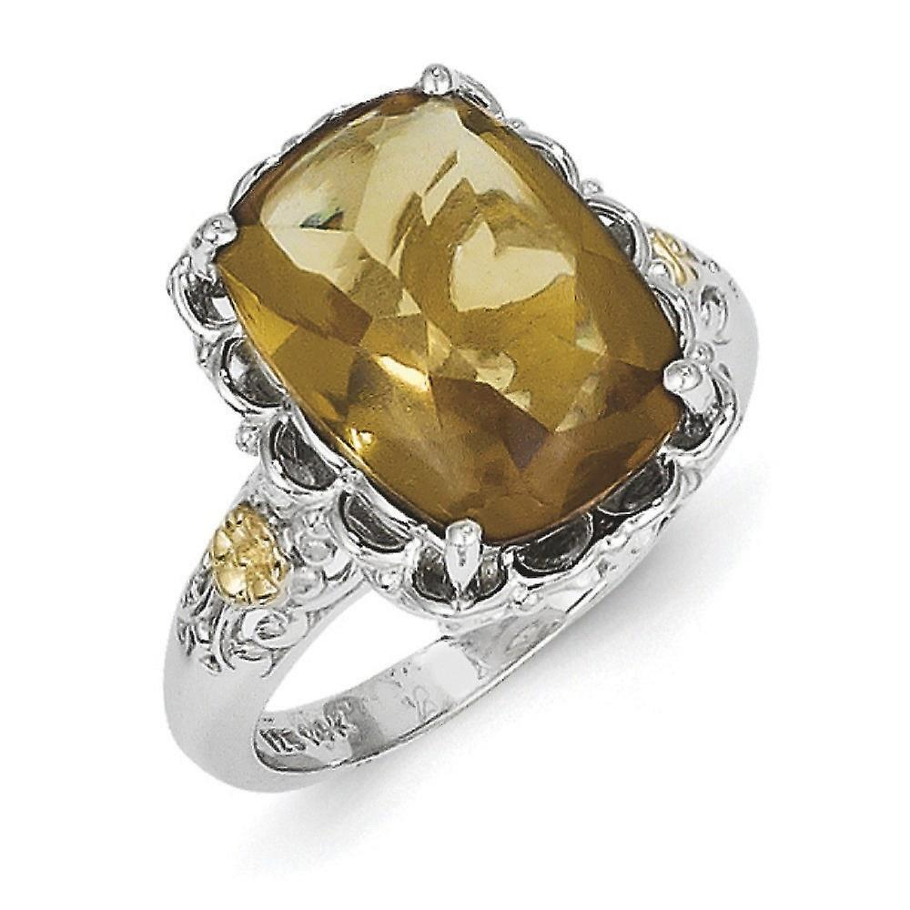 Sterling Silver Polished Prong set Antique finish With 14k Whiskey Quartz Ring - Ring Size: 6 to 8