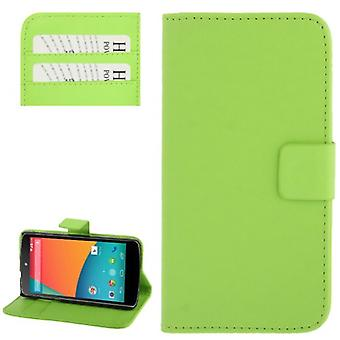 Cell phone case horizontal flip with credit card slots for LG Google nexus 5 / E980 Grün