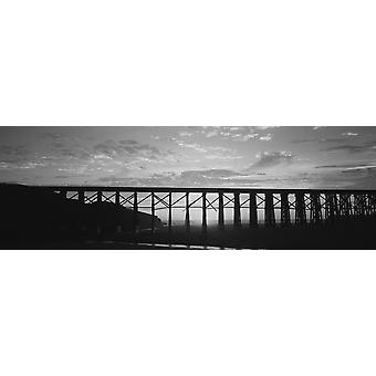 Silhouette of a railway bridge Pudding Creek Bridge Fort Bragg California USA Poster Print