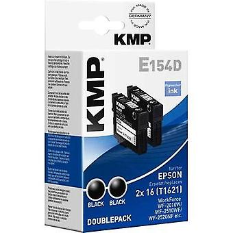 KMP Ink replaced Epson T1621, 16 Compatible Pack of 2 Black E154D 1621,4821