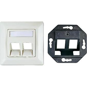 Network outlet Flush mount Insert with main panel and frame CAT 6A 2 ports EFB Elektronik ET-25086 Pearl white
