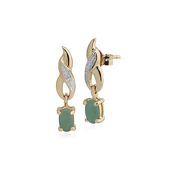 Gemondo 9ct Yellow Gold 0.69ct Jade & Diamond Classic Drop Earrings