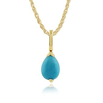 Gemondo 9ct Yellow Gold 0.54ct Pear Turquoise Pendant on Chain