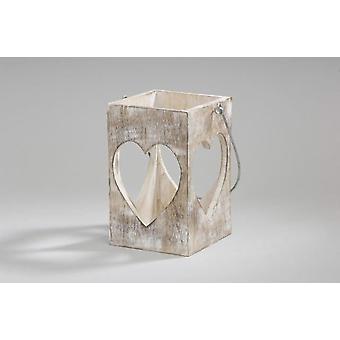 Sostenedor de vela de linterna blanco corazón de madera marrón con manija