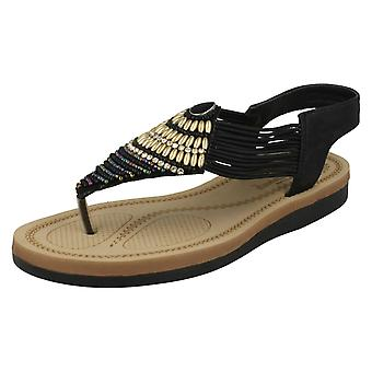 Las señoras Savannah baja cuña Toepost cuentas F0989 sandalias