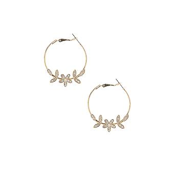 Gold Hoop Earring With Diamante Floral & Leaf Detail