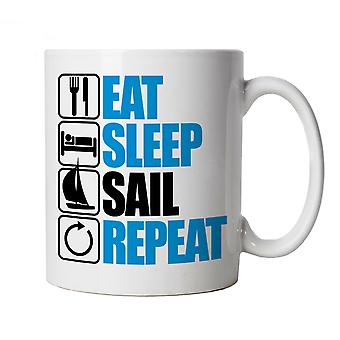 Vectorbomb, Eat Sleep Sail Repeat, Novelty Sailing Mug