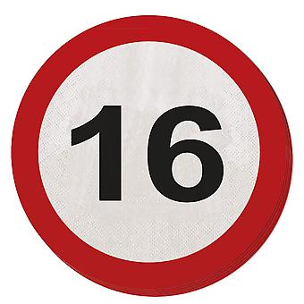 Napkin traffic sign number 16 20 St. sign birthday party