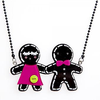 Camille Black Gingerbread Design Necklace