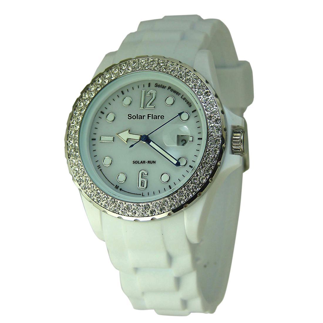 Solar Flare Watch - White - Jewelled Bezel