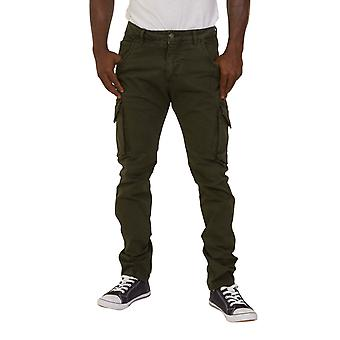 Mens Slim Fit Green Cargo Trousers Green Army Combat Pants