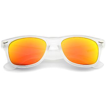 Mat Frosted ramme reflekterende farvede spejl linse Horn kantede solbriller 54mm