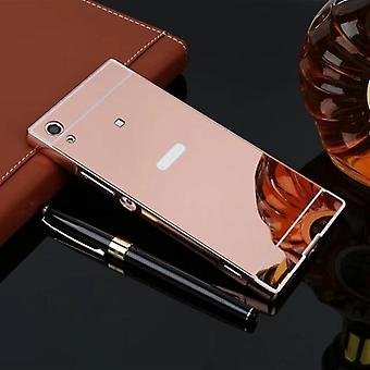 Mirror aluminium bumper 2 pieces with cover Pink for Sony Xperia XA1 G3112 G3121