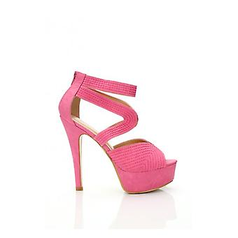 The Fashion Bible Pink Suede Heels