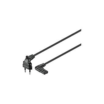 Qnect Mains cable 2-pin Euro to C7 angled, 5 m, black
