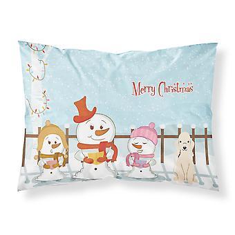 Merry Christmas Carolers Bedlington Terrier Sandy Fabric Standard Pillowcase