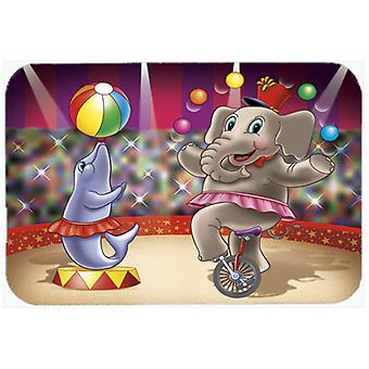 Circus Elephand and Dolphin Glass Cutting Board Large