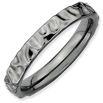 Sterling Silver Polished Patterned Ruthenium plating Stackable Expressions Black-plated Ring - Ring Size: 5 to 10