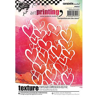 Carabelle Studio Art Printing A6 Rubber Texture Plate-Composition With The Hearts AP60016