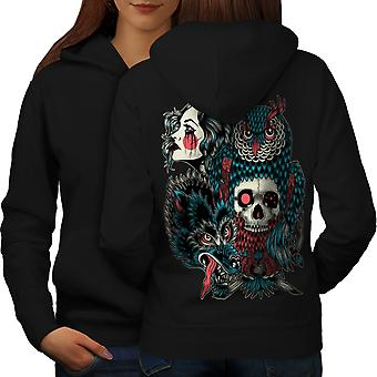 Wolf Dragon Skull Fashion Women BlackHoodie Back | Wellcoda