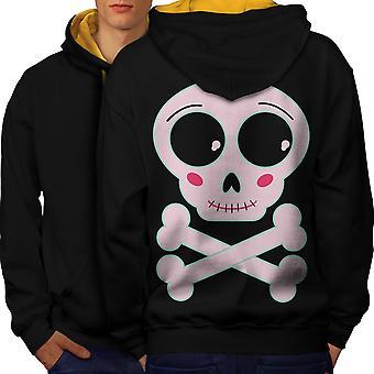 Cute Metal Rock Skull Men Black (Gold Hood)Contrast Hoodie Back | Wellcoda