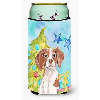 Brittany Spaniel Christmas Tall Boy Beverage Insulator Hugger