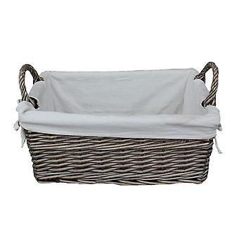 Shallow Lined Antique Wash Storage Wicker Basket Set of 3
