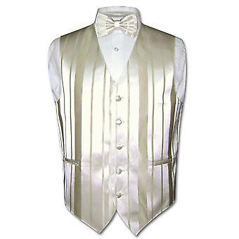 MASC colete vestido & BOWTIE tecido listrado projeto conjunto de gravata borboleta