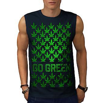 Vert Cannabis Pot hommes NavySleeveless T-shirt   Wellcoda