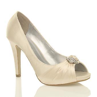Ajvani womens hoge hak diamante ruched Bruidssuite bruiloft prom gluren teen Hof avond schoenen pompen